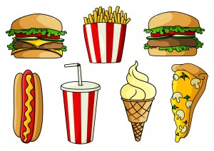 Fresh pizza with mushrooms, hamburger and cheeseburger with fresh vegetables, hot dog, ice cream cone, french fries and soda in striped paper cups. For takeaway or fast food cafe design